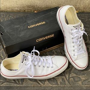 Men's White Leather Converse Classic LowTop Shoes